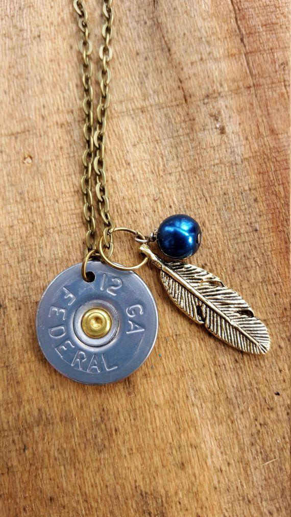 Shotgun shell necklace shotgun shell jewelry bullet by TheCuteNewt