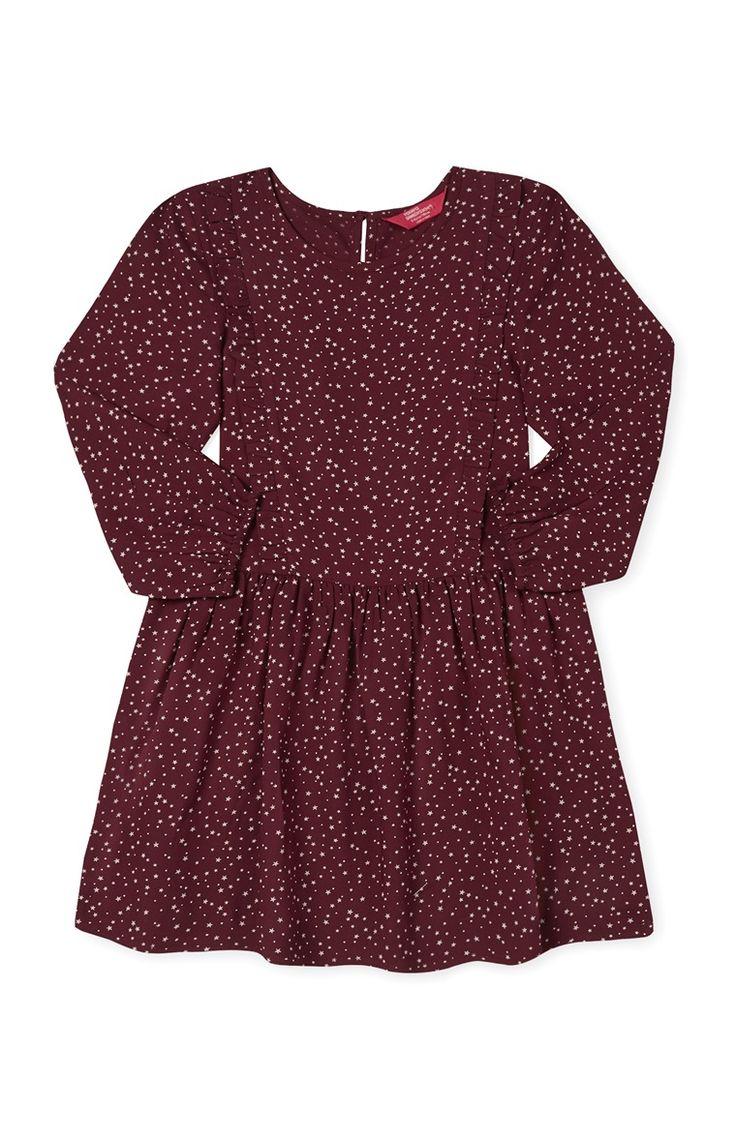 Primark - Rode jurk met lange mouwen en sterren