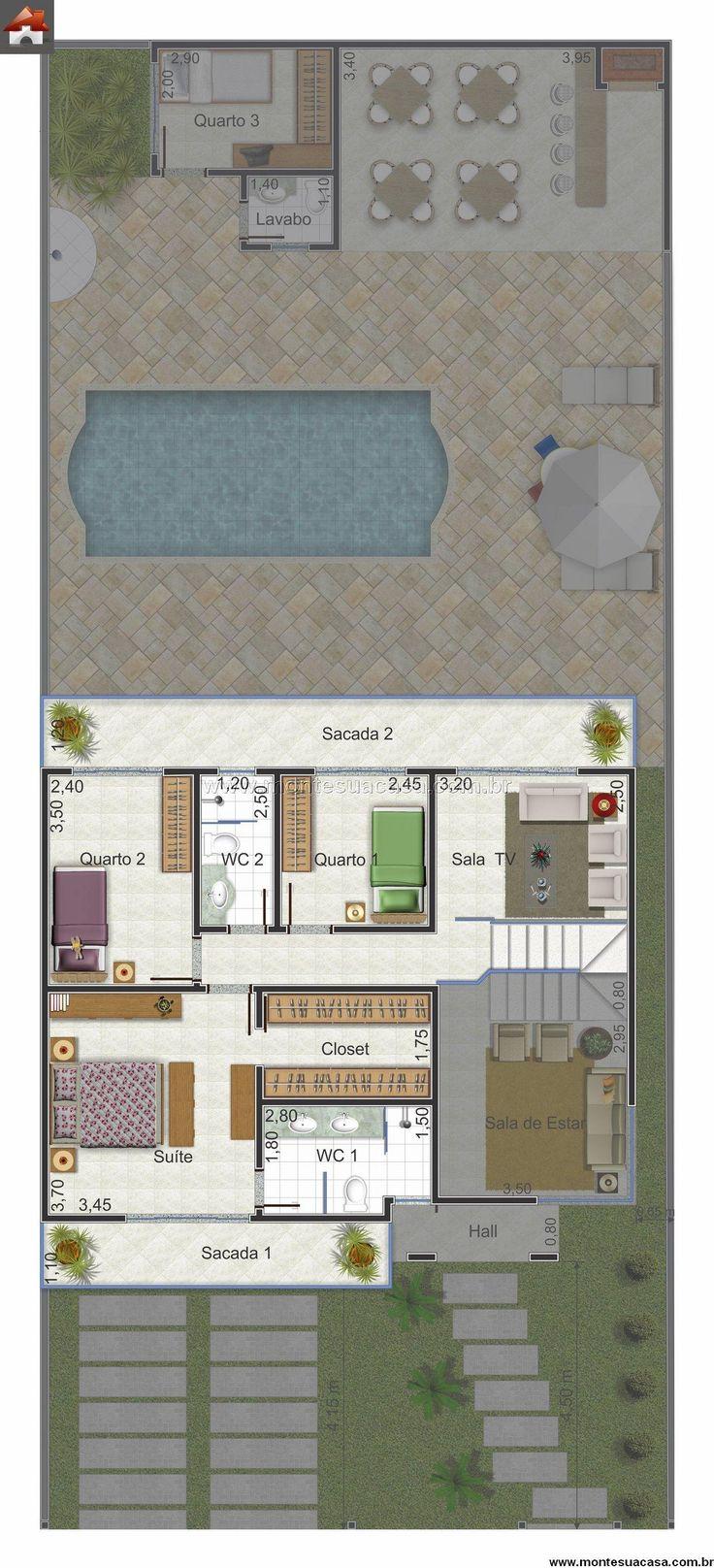 Pinterest: @claudiagabg | Townhouse 2 pisos 3 cuartos 1 estudio piscina 1 habitación estudiantil / planta 2
