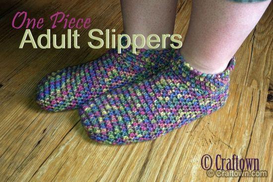 Free Crochet Pattern Adult One Piece Slippers Crochet
