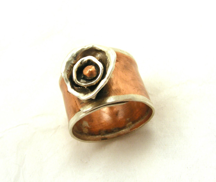 Rose, Flower, Copper, Sterling, Silver, Handmade Ring, Adjustable, Anniversary, Wedding, Birthday, Gift, Wide Band. $42.00, via Etsy.