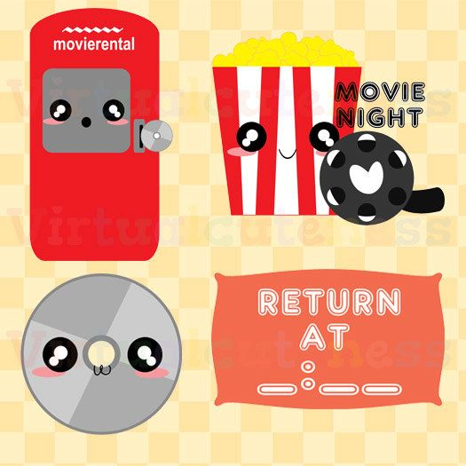 Movie Rental Clipart - Movie Night Clip Art, Popcorn Clipart, Movie Clipart, Planner, Scrapbooking, Kawaii, Free Commercial and Personal Use