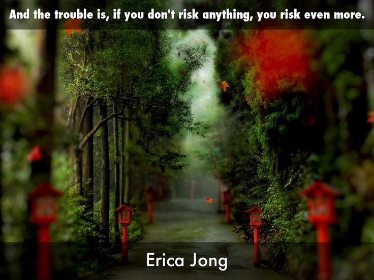 """And the trouble is, if you don't risk anything, you risk even more."" -Erica Jong, created with Haiku Deck by bonnie j gaines"