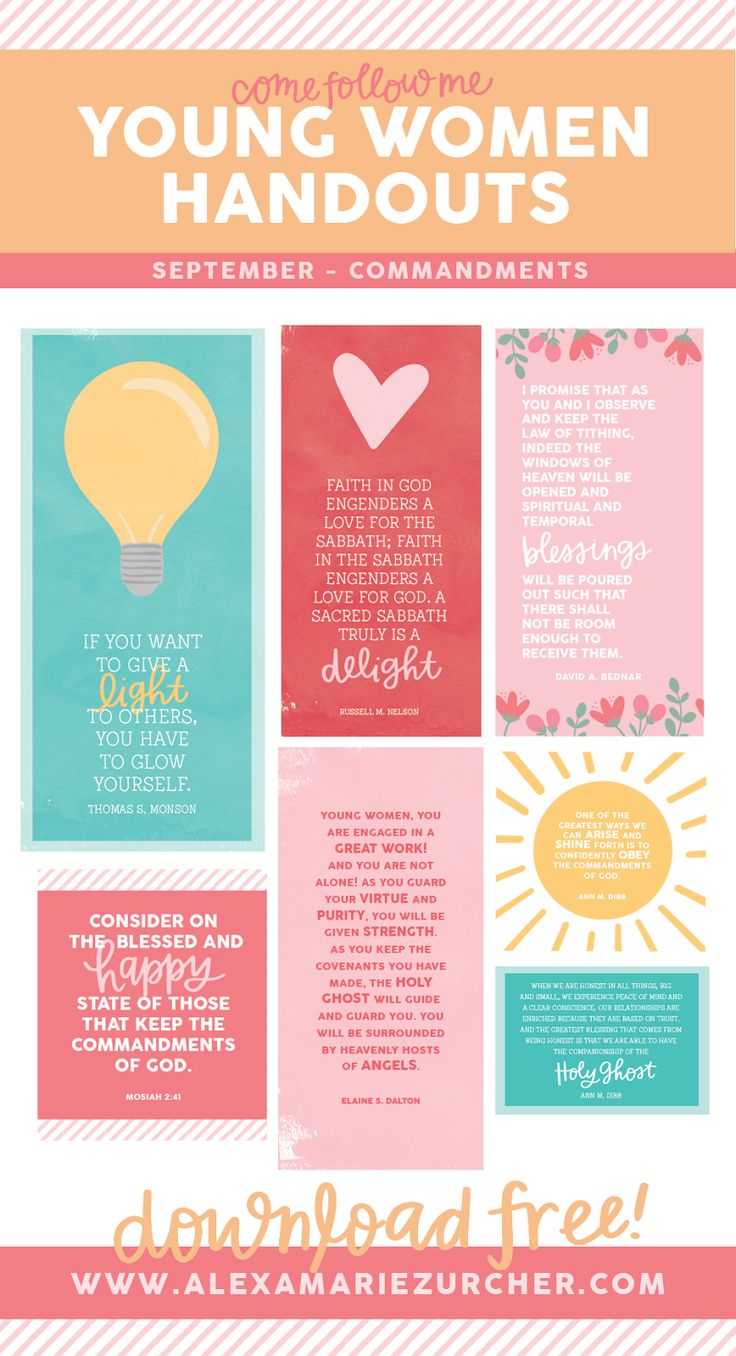 September Young Women Lesson Handouts and Free Printables