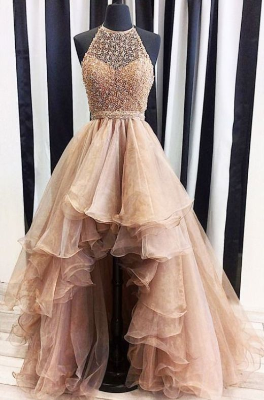 Ball Gown Prom Dresses, Champagne Prom Dresses, Long Prom Dresses, Long Champagne Prom Dresses With Beaded/Beading High-Low Halter Sale Online, Ball Gown Dresses, Ball Gown Prom Dresses, Prom Dresses Online, Halter Prom Dresses, Prom Dresses Long, Prom dresses Sale, Champagne Long dresses, Hot Prom Dresses, Long Champagne dresses, Online Prom Dresses, Prom Long Dresses