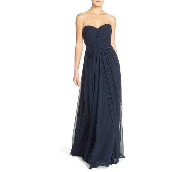 Jenny Yoo 'Mira' Convertible Strapless Pleat Chiffon Gown ($290) via Polyvore featuring dresses, gowns, navy, chiffon dress, long evening dresses, long navy dress, long navy blue dress and long chiffon gown