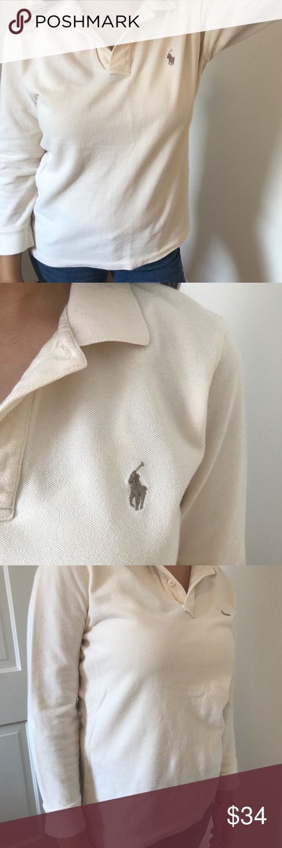 Polo tee 3/4 sleeve This chic and stylish polo shirt is perfect for a casual day. It's cream colored with a detailed infamous brown polo logo. Fits a size small although the tag says large. and the sleeves aren't super long( as seen in the photo) Make an offer! Ralph Lauren Tops Tees - Long Sleeve