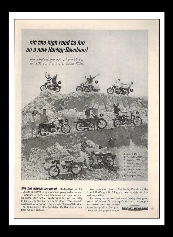 Annonce imprimée Vintage octobre 1965 : Harley Davidson moto Wall Art décoratif 8,5 « x 11 » pour la publicité imprimée