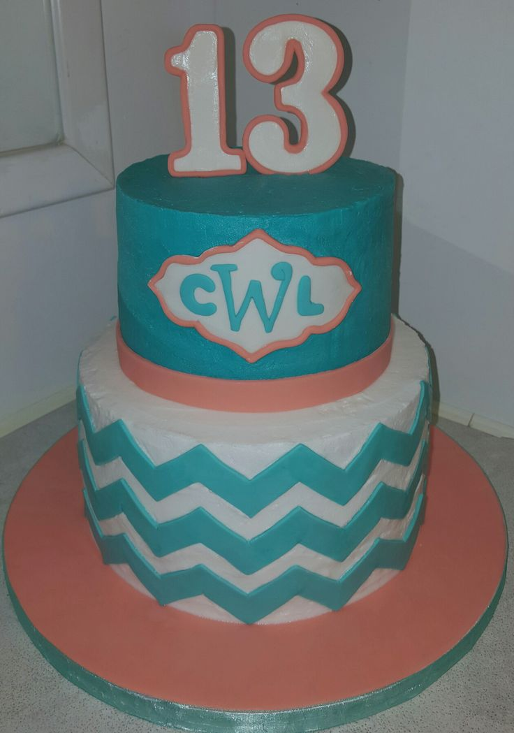 Coral and teal birthday cake, initials and chevron