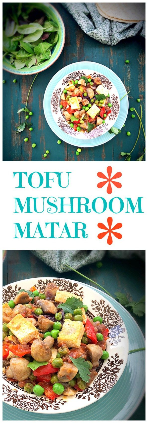 Tofu Mushroom Matar, Tofu Recipes, Tofu Indian Recipes Mushroom Matar with Tofu