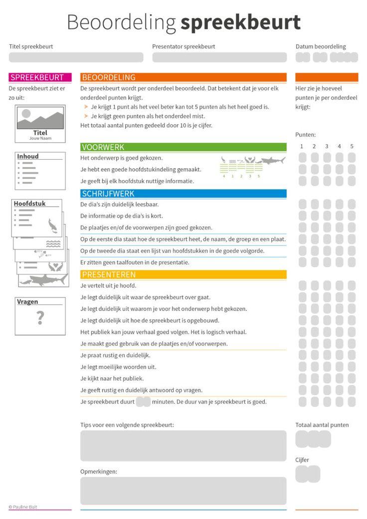 Hoe maak je een spreekbeurt? Alle ingrediënten voor een spreekbeurt op 1 A4. Met beoordelingsformulier zodat de leerlingen weten waar ze aan moeten voldoen.