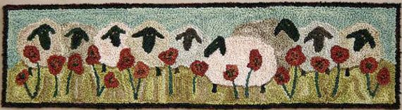 10-3/4 x 3 when completed. Includes design printed on weavers cloth. Check out our other pattern designs of sheep in our Punch Needle Pattern Section. Wouldnt they look wonderful grouped on the wall. This is another beautiful primitive design by Threads That Bind