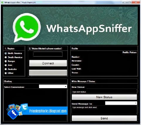 Whatsapp Sniffer Hack Tool 2017 No Survey Free Download http://pricelesshacks.blogspot.com/2016/12/whatsapp-sniffer-hack-tool-2017-no.html