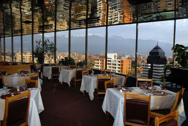 Giratorio-Av 11 de Septiembre 2250, P 16, Providencia  Santiago, Santiago Metropolitan Region, Chile. on the top floor of a 20-something story building. You'll eat on a rotating platform that allows you to view all points of the city throughout the course of an hour and 15 minutes. Pricier than most, but eating with the view is worth it. Metro: Los Leones.