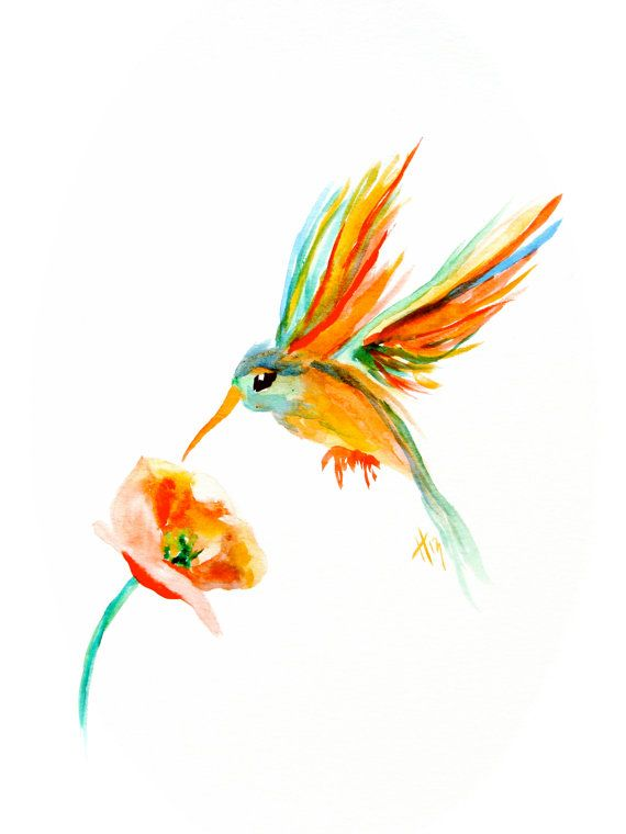 ORIGINAL Humming Bird  Watercolor Painting The by shotviatheink, $80.00
