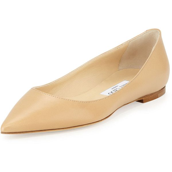 Jimmy Choo Alina Pointy Leather Flat (2.450 RON) ❤ liked on Polyvore featuring shoes, flats, kengät, ballet / loafers, nude, ballerina flats, pointed flats, leather loafers, leather ballerina flats and ballerina pumps
