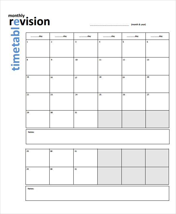 Sample Revision Timetable Template 9 Timetable Template
