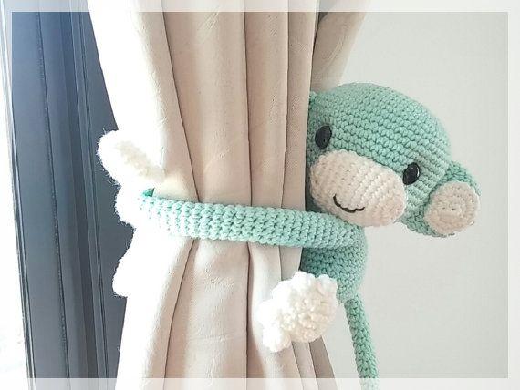 Monkey curtain tie back, cotton yarn crochet toy, amigurumi.Etsy