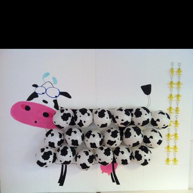 Birthday game cow balloon dart toss!! So fun!!