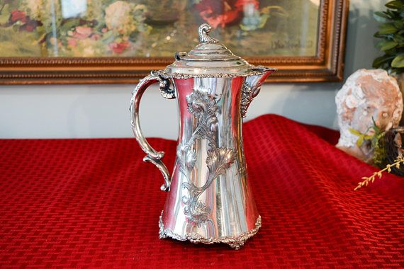 Antique Webster Silver Plate Chocolate Pot  Victorian Silver