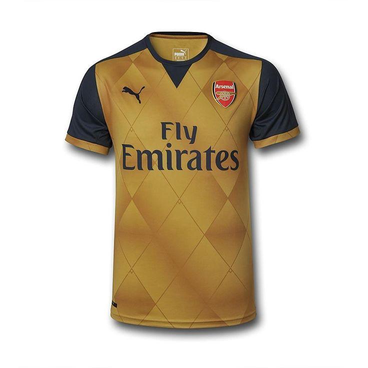 Cadre Pour Maillot De Foot Arsenal FC Exterieur 2015 2016 Doré Vintage