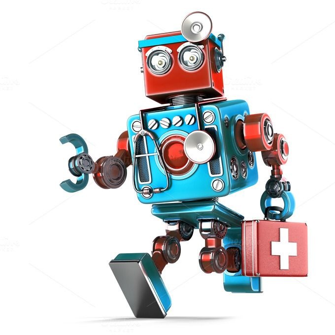Running Robot Doctor with stethoscope. Isolated. Contains clipping path by…