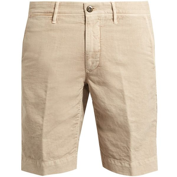 Incotex Slim-fit cotton-blend chino shorts (580 BRL) ❤ liked on Polyvore featuring men's fashion, men's clothing, men's shorts, mens slim fit shorts, mens slim fit chino shorts, slim fit mens clothing and mens chino shorts