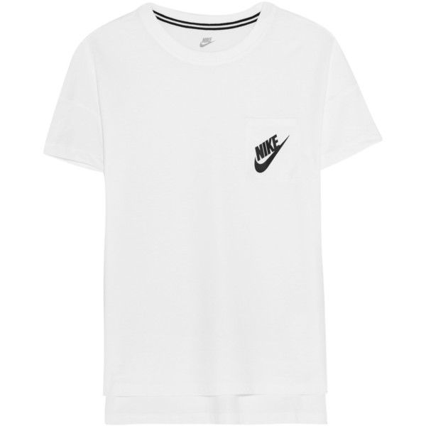 Nike Signal printed jersey T-shirt ($38) ❤ liked on Polyvore featuring tops, t-shirts, blusas, shirts, white, nike jerseys, relax t shirt, nike t shirts, cotton shirts and side slit t shirt