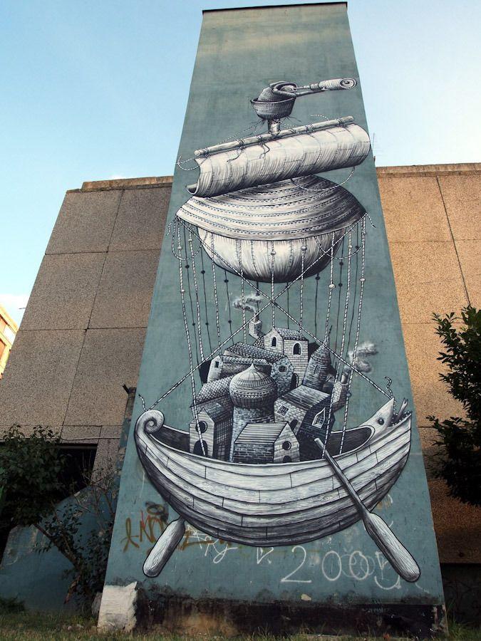 Best Phlegm Street Artist Extraordinaire Images On Pinterest - Awesome mechanical shark mural phlegm
