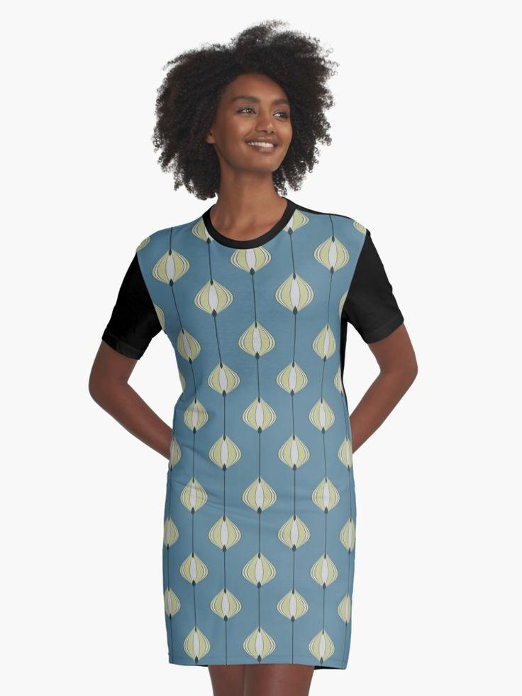 blaettermuster auf blau t shirt kleid von pasob design mit bildern