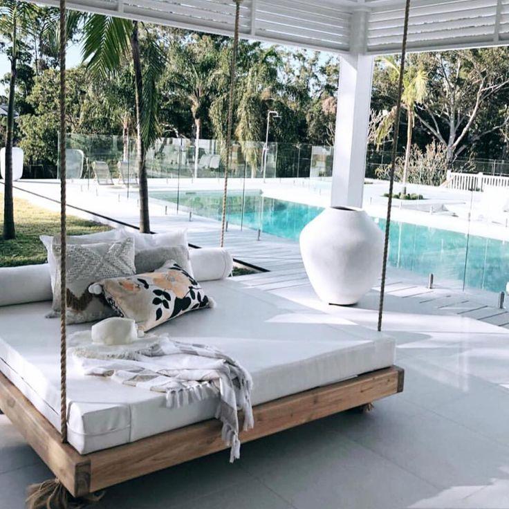 The Beautiful Hanging Day Bed We Upholstered For Threebirdsrenovations Swinging Pretty 128524 Valleyvogue Customsoftfurn House Design Backyard Beach Home