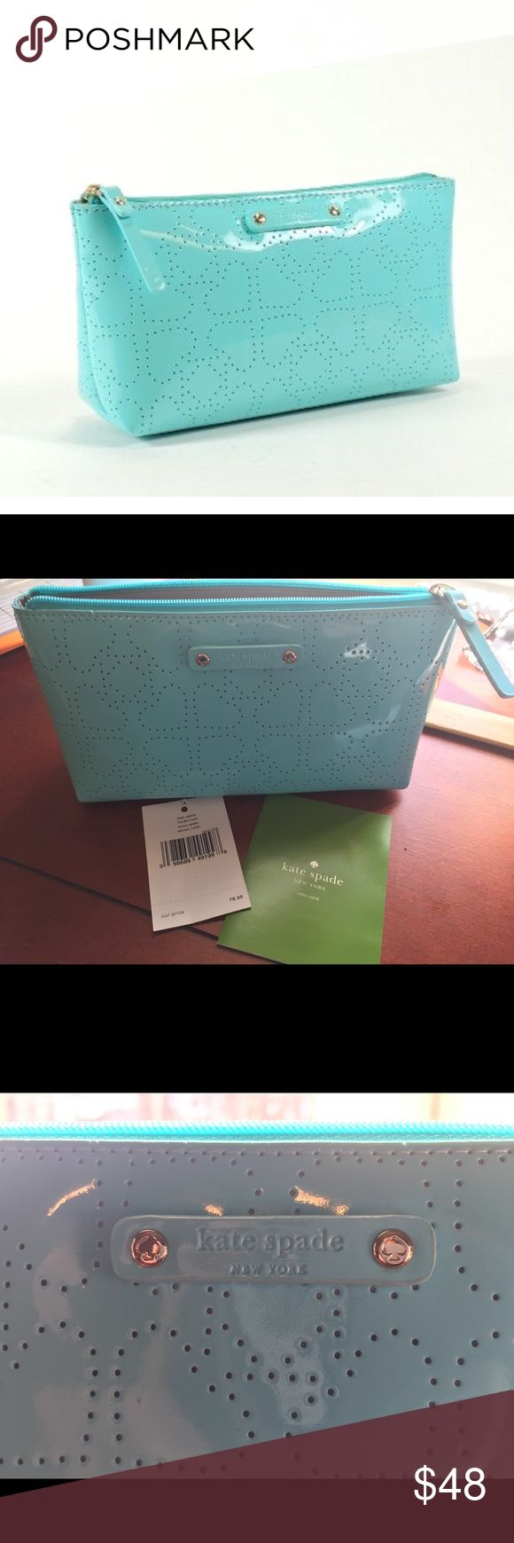 """Kate Spade Little Shiloh Metro Spade Adriatic Features Zip closure Perforated patent leather 7"""" x 4"""" x 2.5"""" zip-top closure 14-karat light gold hardware Solid nylon lining with slip pocket kate spade Bags Cosmetic Bags & Cases"""