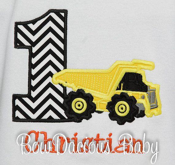 Boys Dump Truck Birthday Shirt Construction by bowdaciousbaby