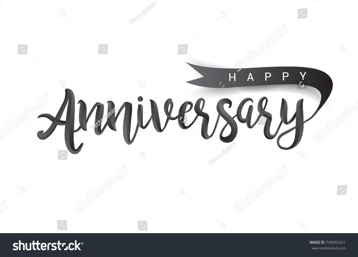 Calligraphy Happy Anniversary hand lettering text design with ribbon. Handmade calligraphy vector illustration