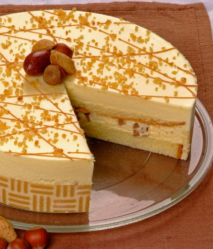 White Chocolate Hazelnut: 1 x 24cm Perfect combination of the smoothest white chocolate mousse and pieces of hazelnut praline. Finished off with white chocolate ganache, roasted nuts and hazelnut praline drizzle.
