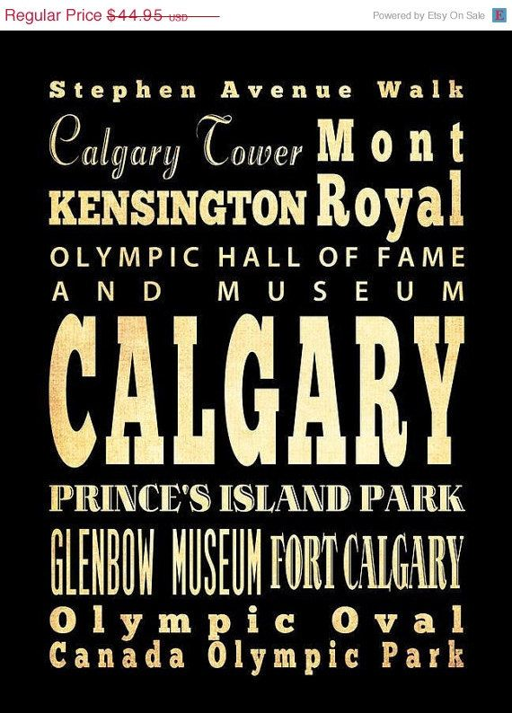 ON SALE Calgary Canada Typography Art Poster / by LegacyHouseArt, $39.95 Etsy