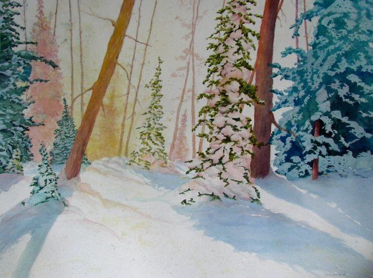 Original winter landscape watercolour painting by Dennis Kalichuk.