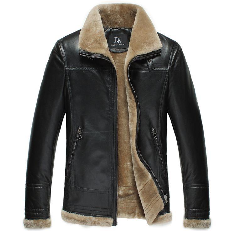 Бренд зимние кожаные куртки мужчины Роскошные шерстяные insdie Натуральной овчины пальто Черный/Коричневый Дизайнер куртка 13Q1358