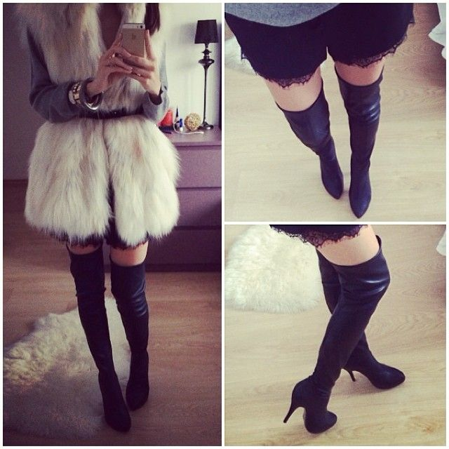 Second skin boots & white fur vest