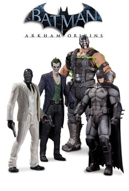 Batman Arkham Origins figures featuring Batman, Black Mask, Bane, and the Joker.