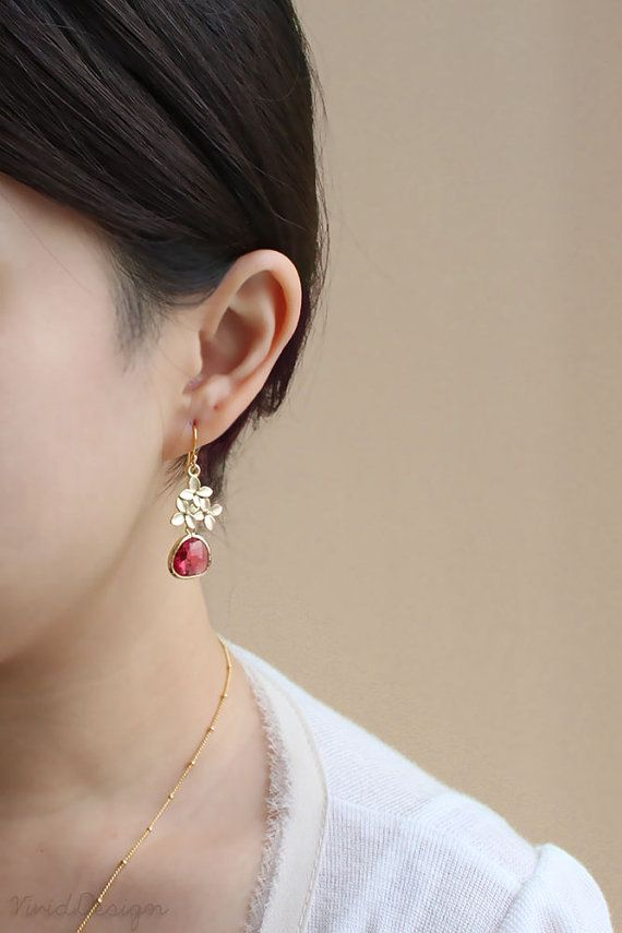https://www.bkgjewelry.com/ruby-rings/247-18k-yellow-gold-diamond-ruby-solitaire-ring.html Cherry Blossom Earrings Ruby Earrings July by ilovevivid on Etsy