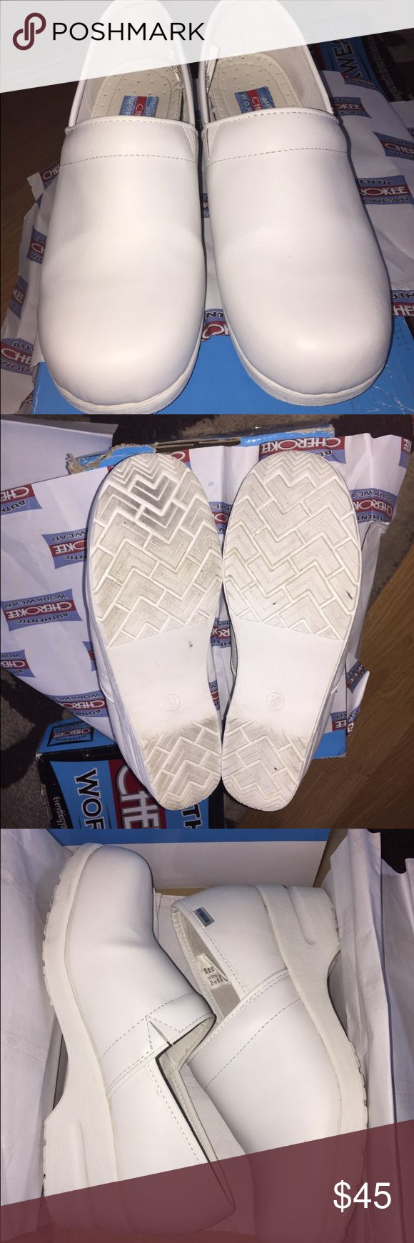 Nursing Shoes Authentic Cherokee Brand Size 8.5 Nursing Shoes Authentic Cherokee Brand Size 8.5 worn 2 days end up not needing them for class so there some normal wear no rips, and stains please see all photos Cherokee Shoes Mules & Clogs
