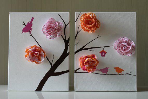 Bird Nursery Decor Baby Girl Nursery Pink Orange Nursery Flower Nursery Acrylic Painting Nursery
