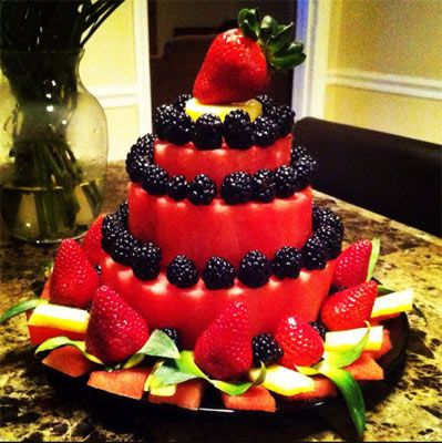 You can also make watermelon cakes of different sizes and layer them to make tiers. Here is an example of how Judy Louangsaysongkham did this. I love it, Judy! To see other student creations, visit http://www.vegetablefruitcarving.com/blog/carved-watermelon-cakes-beginners/#