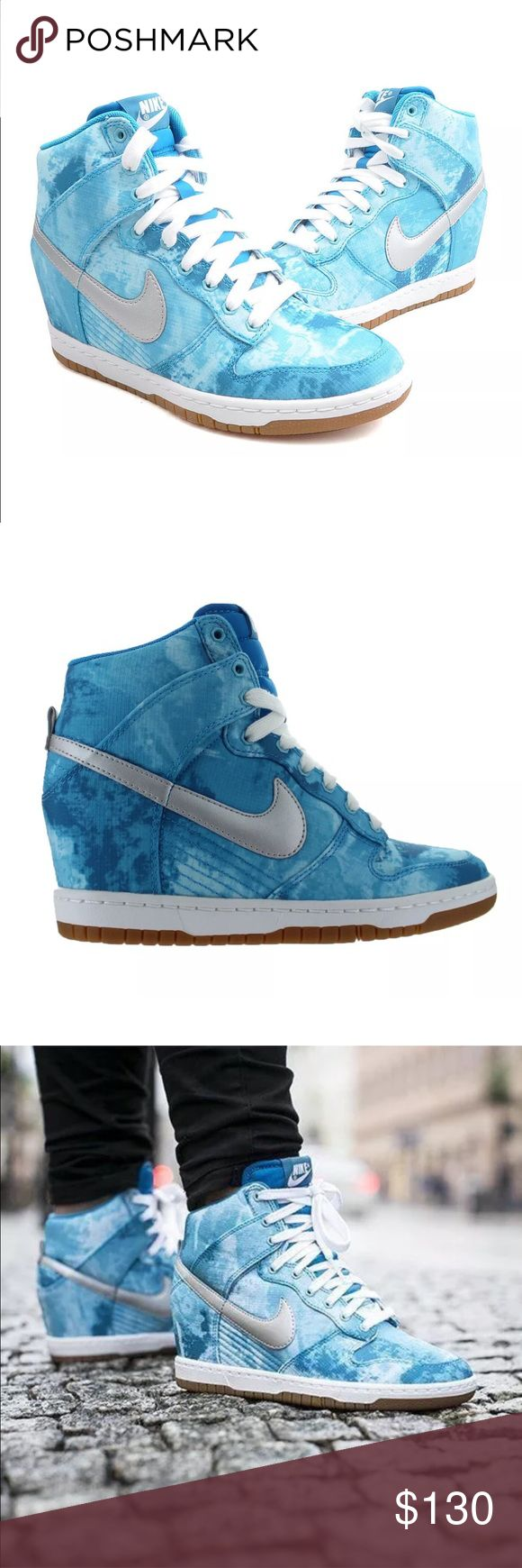 Nike Dunk Sky Hi Wedge Clearwater Silver Blue 9.5 Women's Nike Dunk Sky Hi Wedge Clearwater Silver Blue Lacquer 543258 Sz 9.5. Hidden Wedge, Hi Tops. Brand new shoes in box. Nike Shoes Sneakers