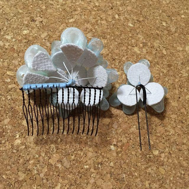 つまみ細工 髪飾り(紫陽花)