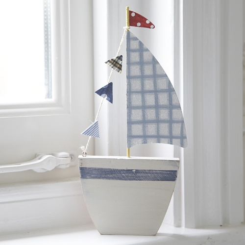 Wood & Fabric Boat-Blue Check Sail ...  this is so o o o o cute