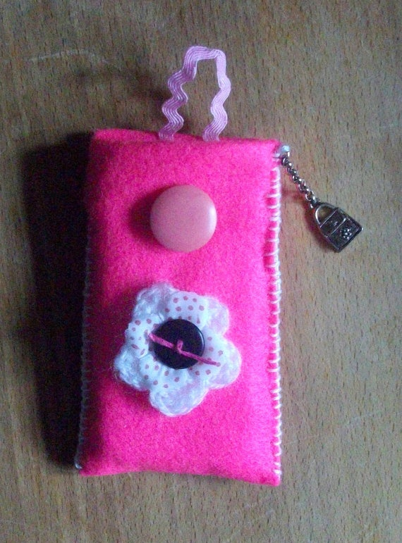Pink mobile phone cover with charm. Great Christmas stocking filler!