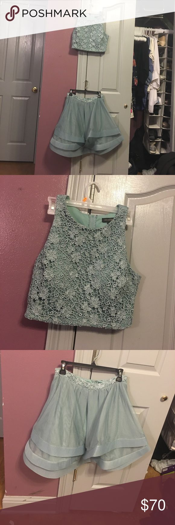 Light olive green homecoming dress two piece Two piece homecoming dress whimsical design flower patterned top sparkly worn once Jodi Kristopher Dresses Midi