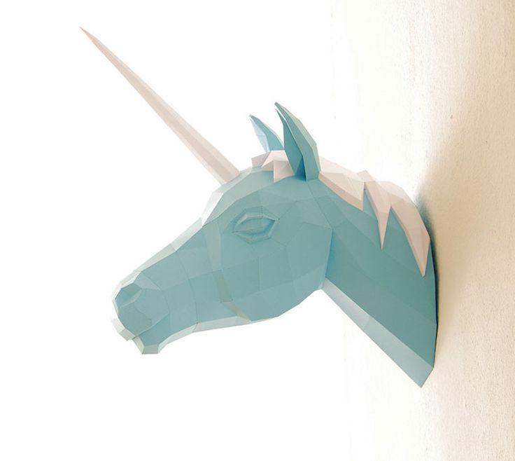 Esculturas geométricas de animales hechas de papel por Wolfram Kampffmeyer - POP-PICTURE